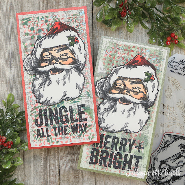 Jolly Santa Slimline Christmas Cards by Juliana Michaels featuring Tim Holtz Stampers Anonymous Jolly Santa and Bold Tidings Stamp Set