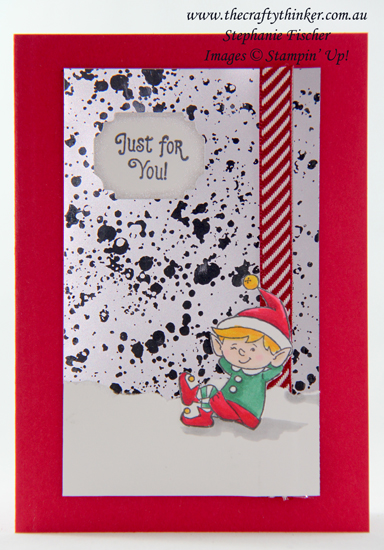 #thecraftythinker  #stampinup  #elfie  #christmascard #xmascard #cardmaking #mercuryglass, #Elfie, Christmas card, Mercury Glass Acetate, Stampin' Up Demonstrator, Stephanie Fischer, Sydney NSW