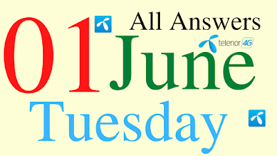 Telenor Quiz Today | 01 June 2021 | My Telenor App Today Questions and Answers | Test your Skills