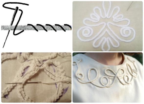 bordado soutache, técnica de costura, labores cordoncillo, manualidades