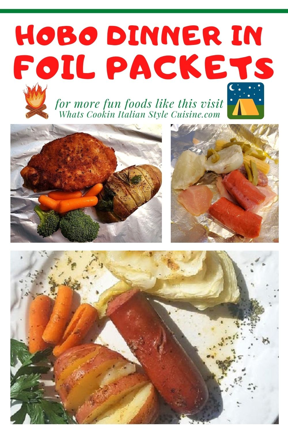 this is a fun packet of baked camping food in foil. There is kielbasa, chicken, and Italian sausage along with carrots, potatoes, cabbage and green beans all packed up and ready to be baked, grilled or on a camp fire