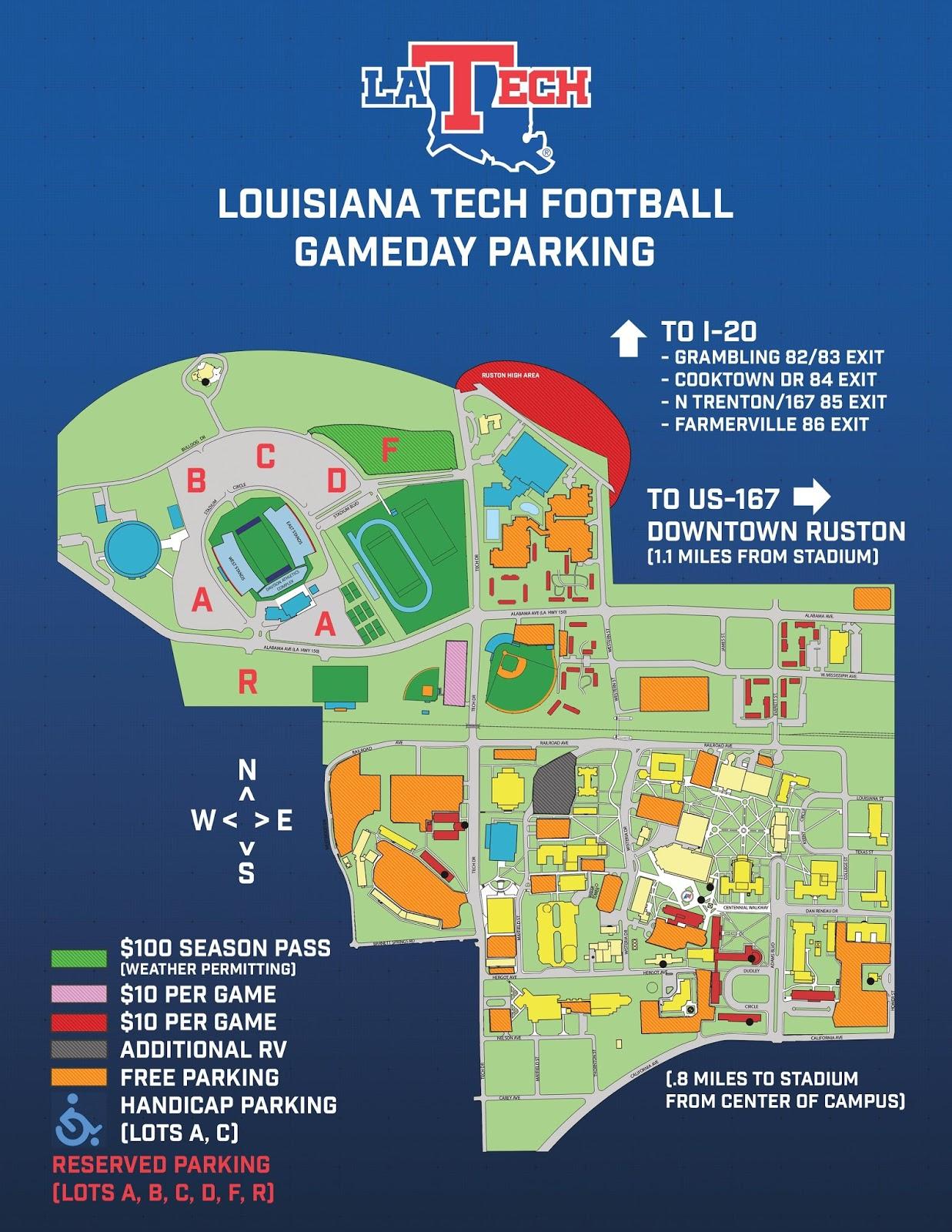 louisiana tech campus map Experience Ruston Tech Game Day For Dummies louisiana tech campus map