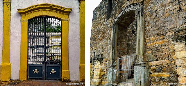Portões do Cemitério do Carmo e da Igreja do Rosário, em Sabará