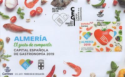 Sobre, PDC, filatelia, matasellos, sello, gastronomía, 2019, capital, Almería