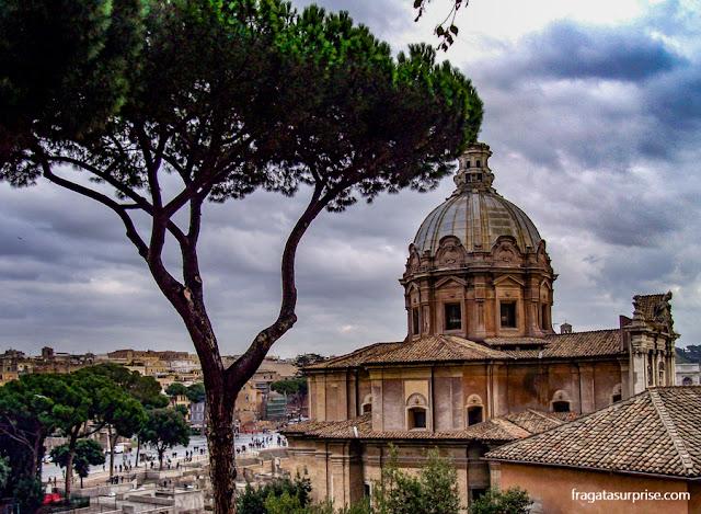 Igreja de San Marco, Roma, vista do alto da escadaria de Aracoeli