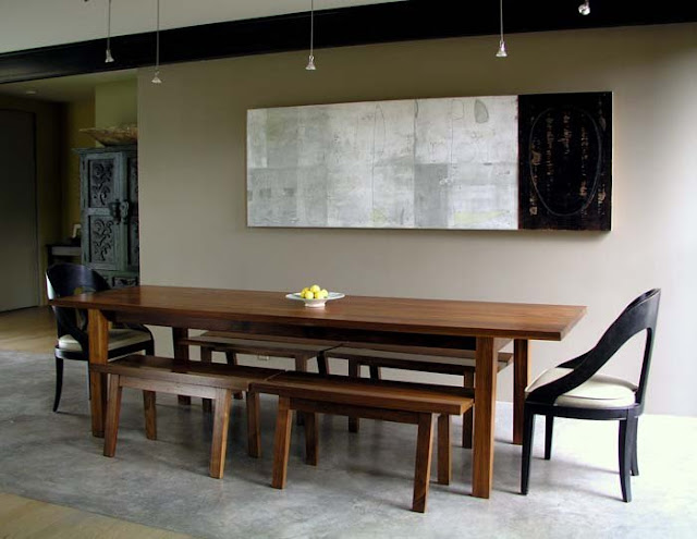 dining room with benc