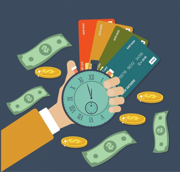 Credit card advertising hand holding clock money icons Free vector