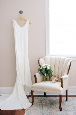 brides wedding gown and bouquet