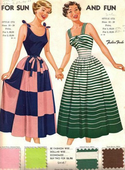 1950's Fashion Frock Style Card