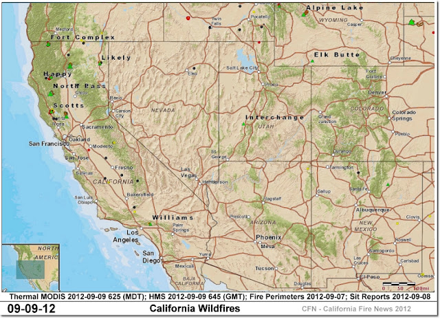 California Wildfire Locations, Perimeters and Hot-Spots CFN-2012