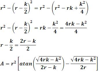 Proceso de cálculo para obtener el área de la región entre dos círculos en función de r y k