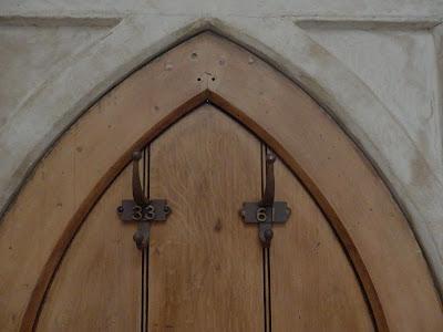 Old solid door of an 1890 Sunday School