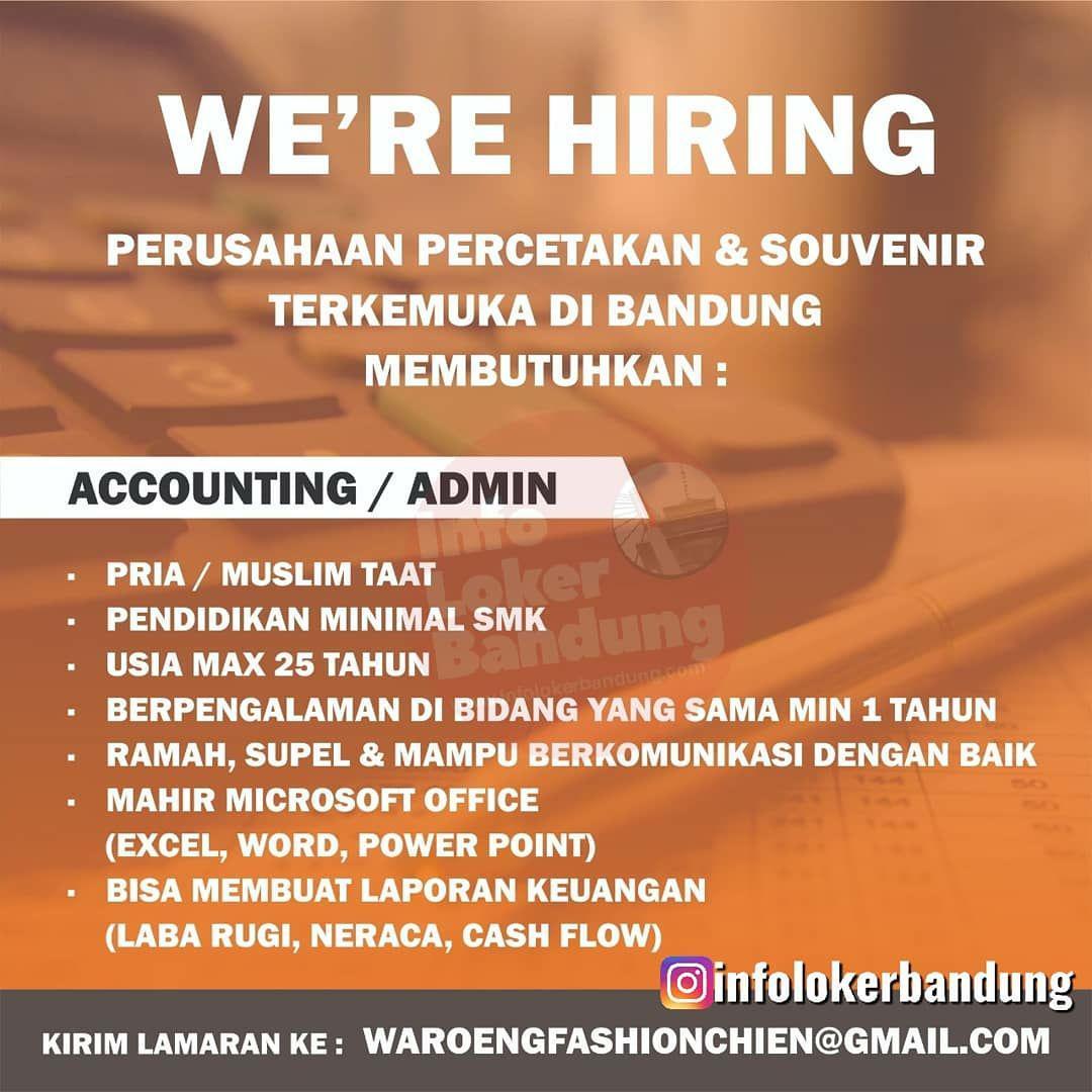 Lowongan Kerja Accounting / Admin Perusahaan Percetakan & Souvenir Bandung September 2019