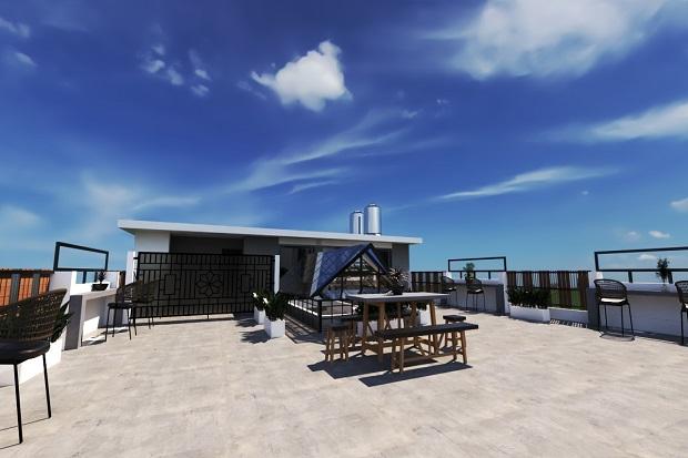 rooftop lantai batu alam