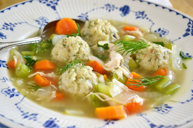 classic matso ball soup brightened up with fresh dill