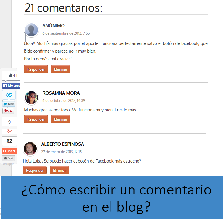 ¿Cómo escribir un comentario en el blog?