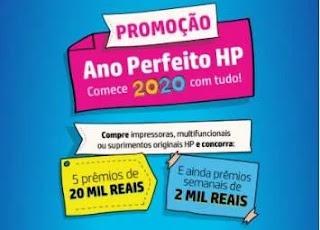 Cadastrar Promoção HP 2020 Ano Perfeito 5 Prêmios 20 Mil Reais e Muito Mais