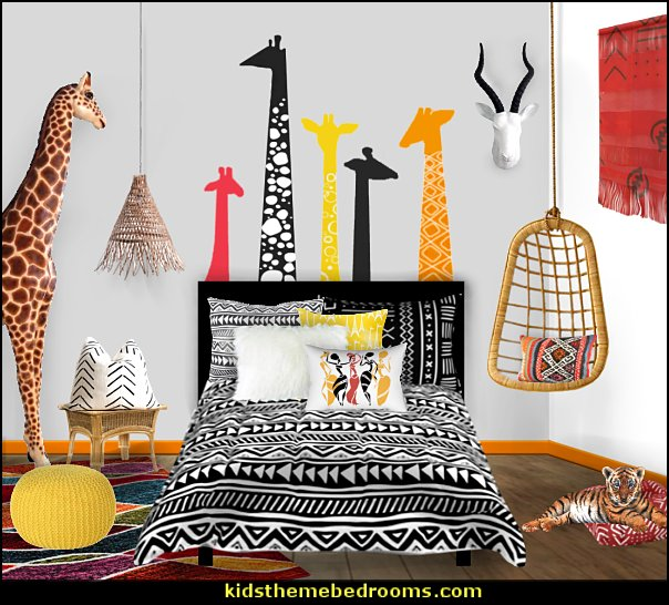 modern safari kids bedroom ideas  giraffe decor mud hut bedding african safari bedding safari wall decal stickers