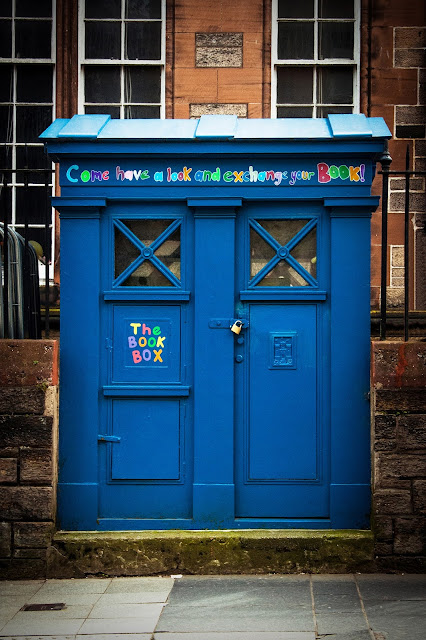 Photograph Bright Blue Book Box Free Library in Notting Hill London