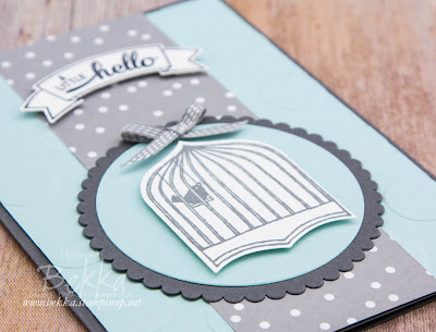 A Little Hello Bird Cage Card made using the Badges and Banners Stamp Set and Punches from Stampin' Up! UK - buy Stampin' Up! UK here