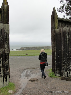 ocean view from back gates at Fort Ross State Historic Park in Jenner, California