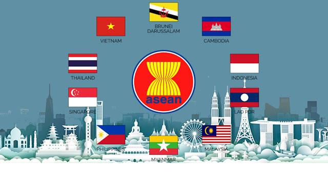 Arti logo / lambang ASEAN yaitu, warna biru melambangkan persahabatan, warna kuning melambangkan kemakmuran, serta warna cokelat melambangkan kekuatan & stabilitas.