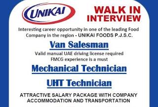 Recruitment For Van Salesman, Mechanical Technician and UHT Technician in Leading Food Industry Dubai | Walk In Interview