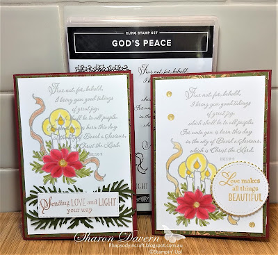 God's Peace,Christmas Cards, Brightly Gleaming DSP, Beautiful Boughs Dies, 2019 Holiday Catalogue, Rhapsody in craft,Stampin' Up, Heart of Christmas