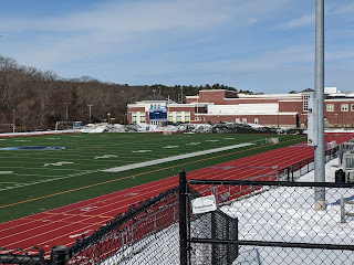 The outdoor track and football field have been cleared of snow
