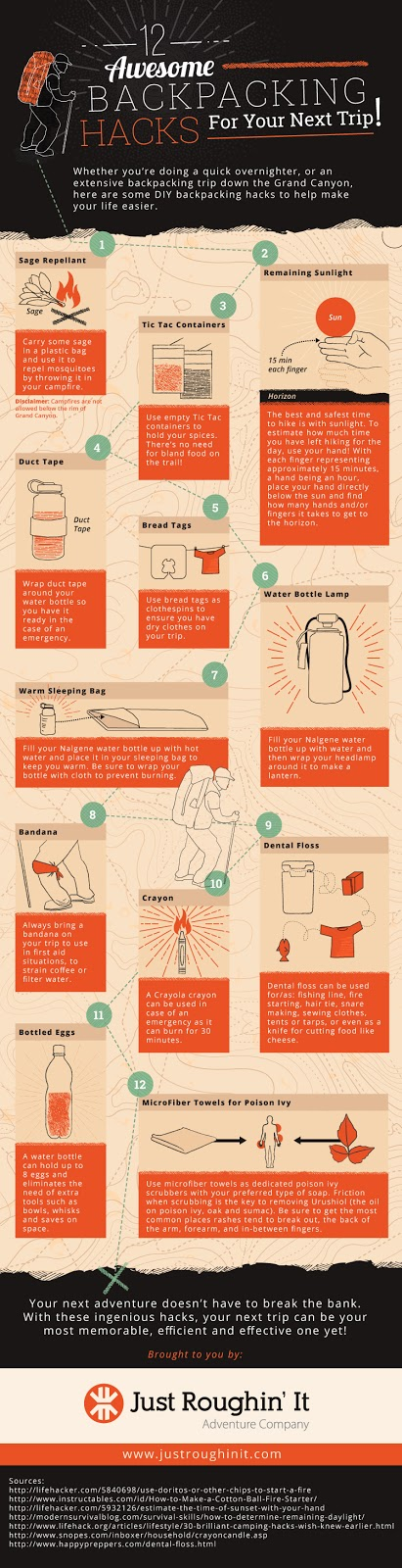 12 Backpacking Hacks for Your Next Trip! #Infographic