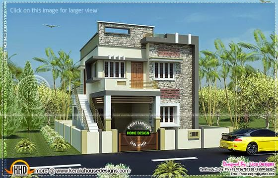 1289 sq ft, four bedchamber modern Tamil line of piece of job solid pattern  Home Kerala Plans