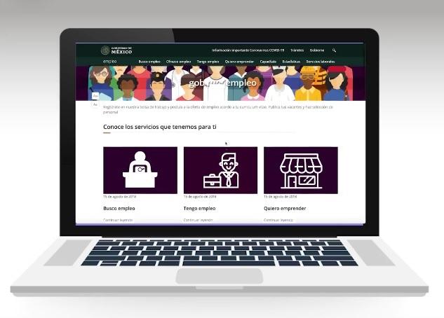 Computadora con sitio web de empleo.gob.mx