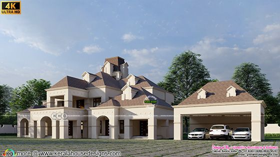 Side view of a beautiful colonial house with separate car porch