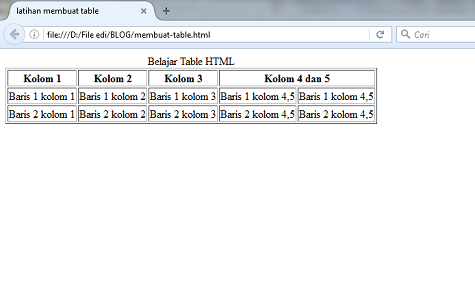 tutorial belajar HTML membuat table