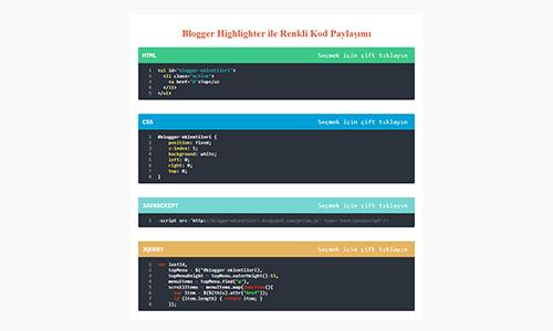 Blogger Highlighter ile Renkli Kod Paylaşımı