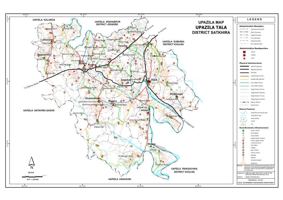 Tala Upazila Map Satkhira District Bangladesh