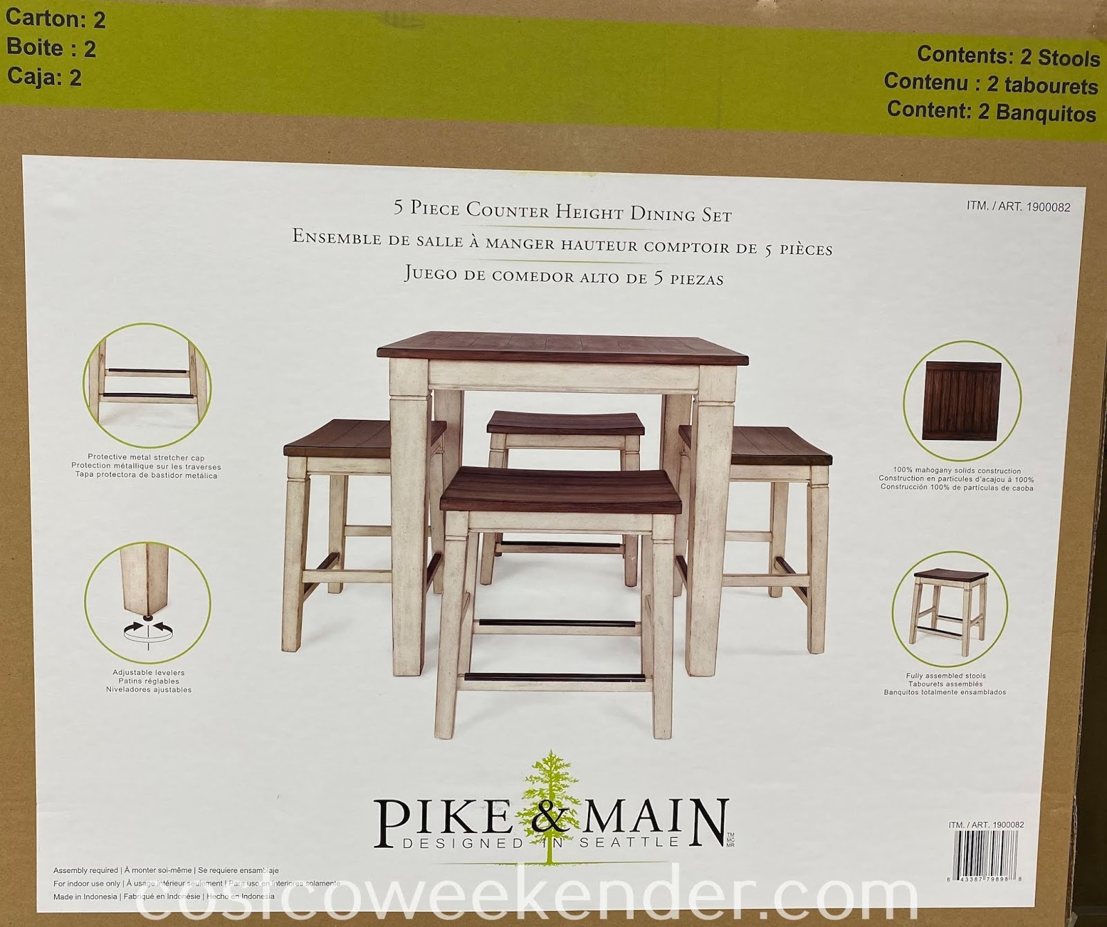 Costco 1900082 - Pike & Main Gibson Counter Height Dining Set: functional and stylish