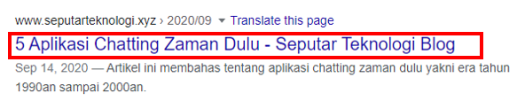 Contoh Title Tag