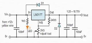 دائرة لمنظم الجهد LM317
