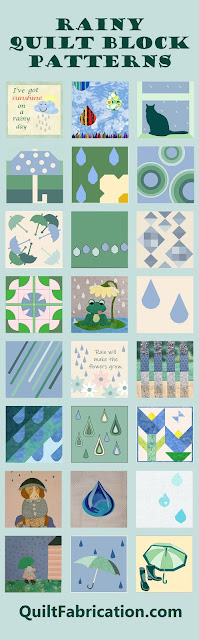 blue and green rain themed quilt blocks