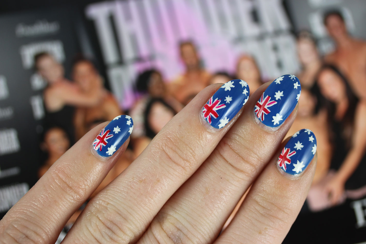 Thunder From Down Under, flags Australian, nail art