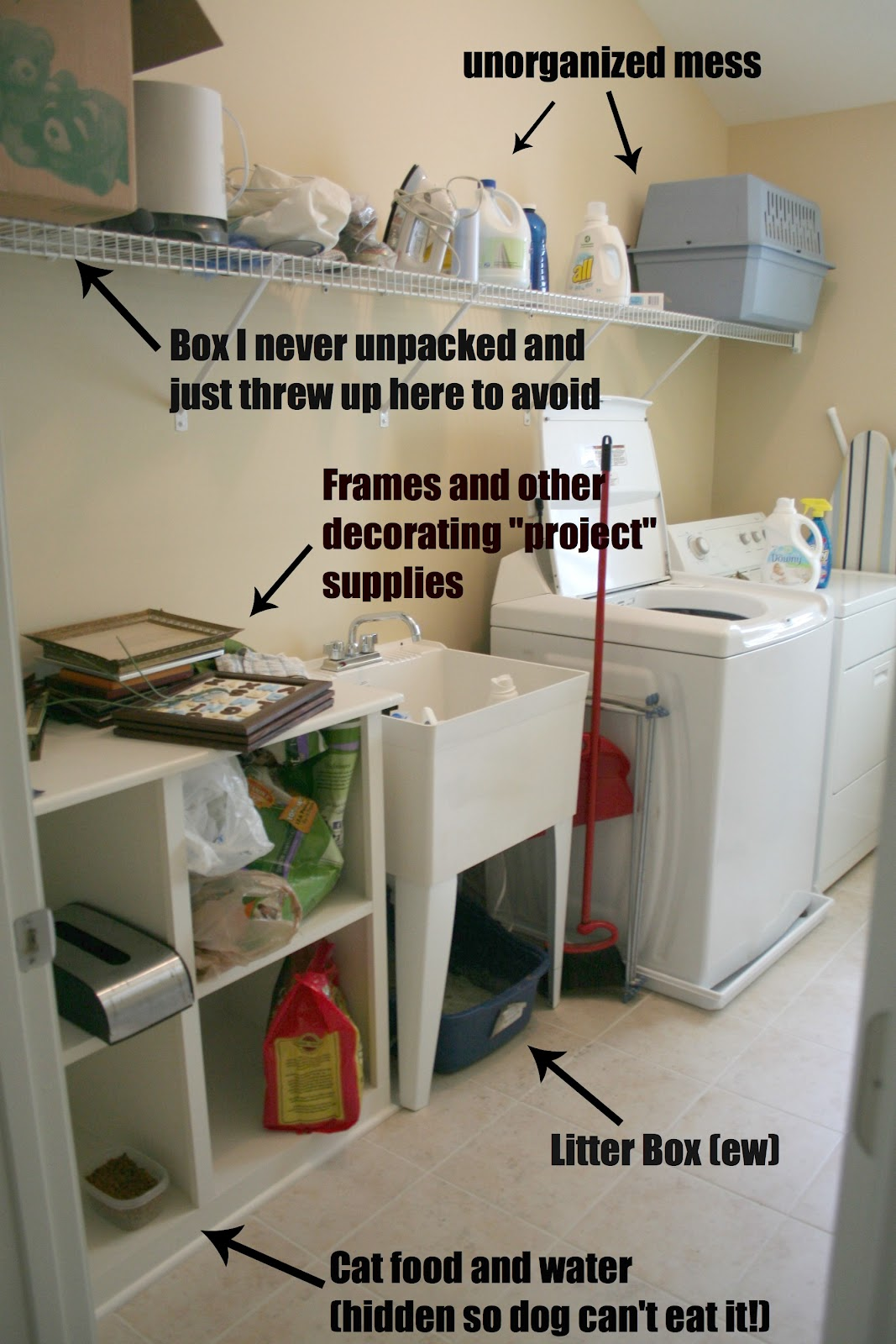 Laundry Room Makeover and No Sew Sink Skirt - The Happier ...