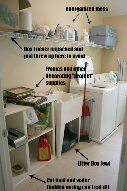 A laundry room with frames and other items not unpacked can make the room cluttered