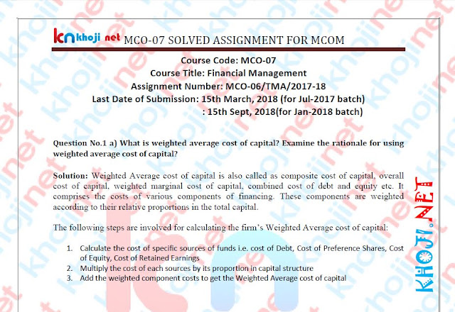MCO-07 Solved Assignment For IGNOU MCOM 2nd Year 2018 Session
