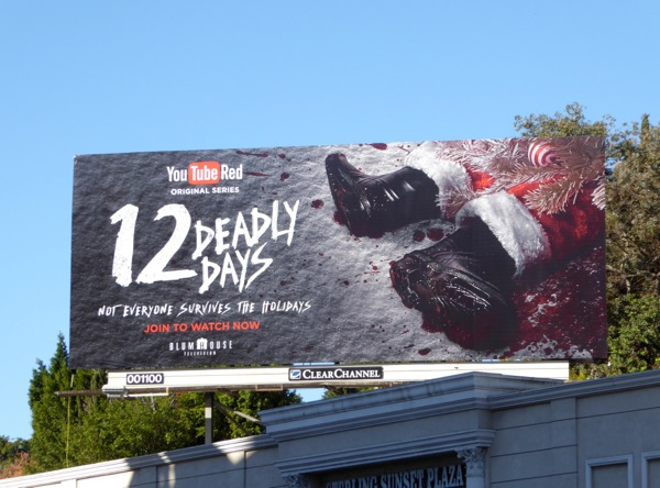 12 Deadly Days YouTube Red Santa boots billboard