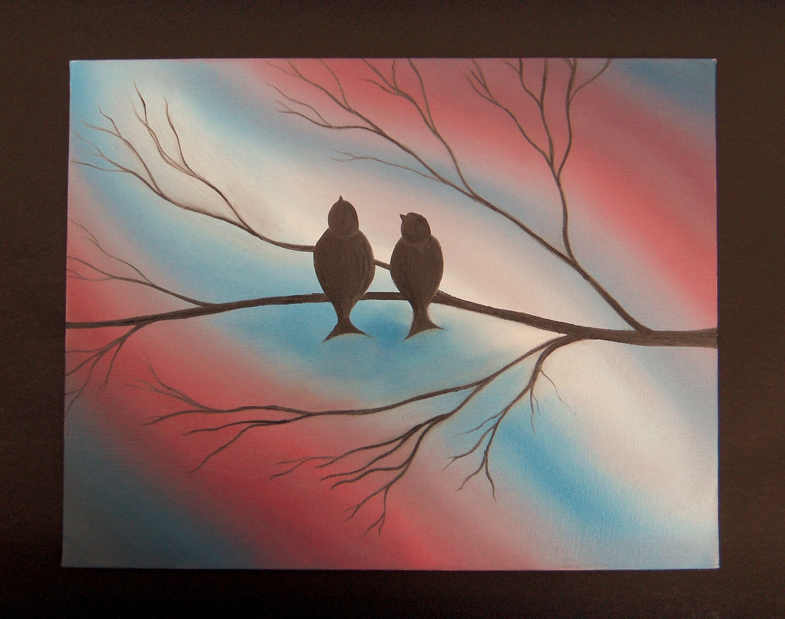 Abstract Bird Oil Painting Red White And Blue On Canvas 11 X 14 Free Birds