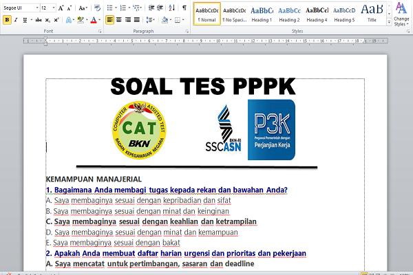 Resmi !! Contoh Soal PPPK Tahun 2021 dan Jawaban
