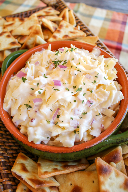 Jarlsberg Dip is a classic dip that is great for holiday get-togethers as well as game day parties! The Jarlsberg cheese has so much delicious flavor - that the rest of the ingredients just make it creamy and a perfect compliment to pita crackers.