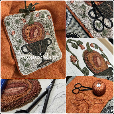 'Oh, Pumpkin' Punch Needle Design by Rose Clay at ThreeSheepStudio.com click on 'Studio'