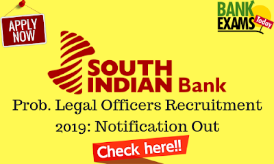 SIB Prob. Legal Officers Recruitment 2019: Notification Out